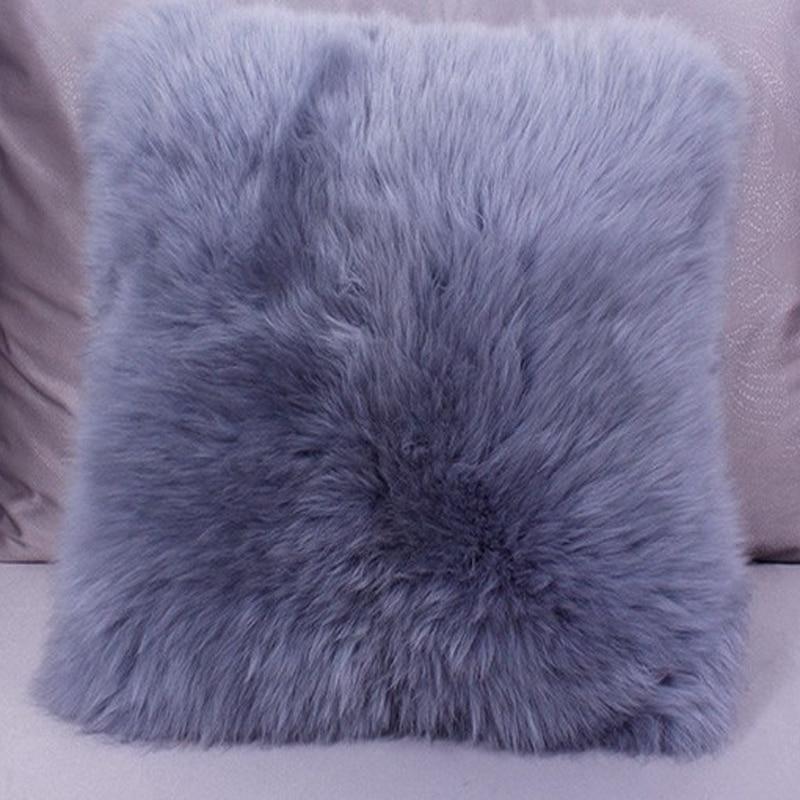 """1pcs de peau de mouton synthétique fourrure Carré Blanc Taie D/'oreiller Coussin 16x16/"""" tissu dos"""