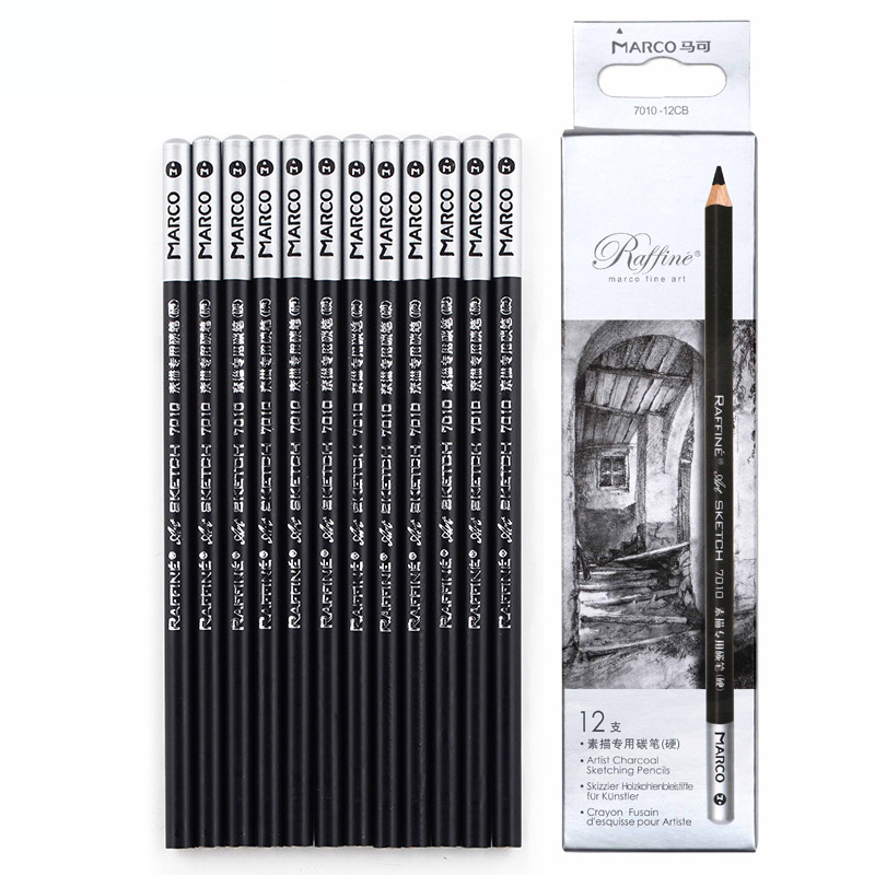12pcs/set Marco Professional Sketch Charcoal Pencils for Artist Drawing Pencil Set Hard/Medium/Soft Charcoal Pen Art Supplies touchnew 60 colors artist dual head sketch markers for manga marker school drawing marker pen design supplies 5type