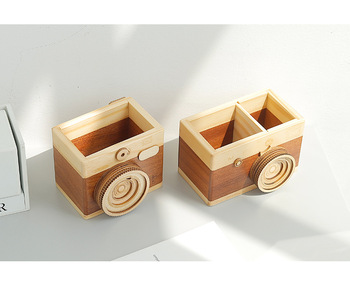 Creative Retro Camera Double Layer Pen Holder Gift Original Wooden Learning Stationery Large Ornaments