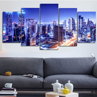 2016 5Planes Wall Canvas Painting Art Pictures Blue Night City Modern Modular Posters Prints Artwork Abstract