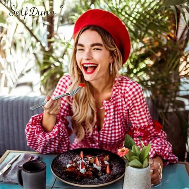 Self Duna Autumn Red Plaid Dress Long Sleeve Loose Bow Tie Vacation Vintage Tassel Women Short Dress Robe Femme