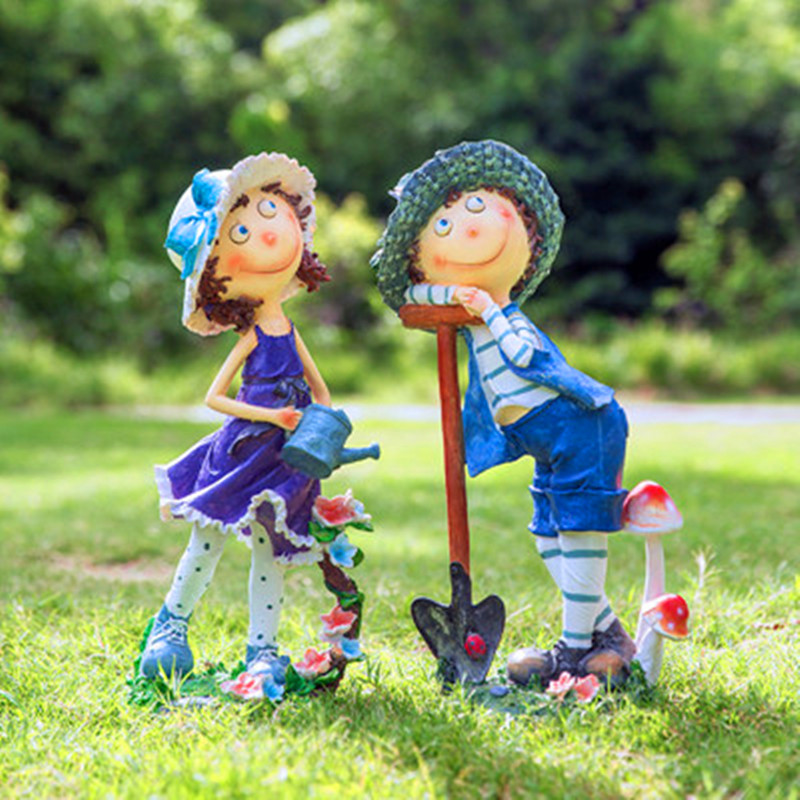 Pastoral Garden Decoration Outdoor Resin Gardening Cartoon Character Sculpture Statue