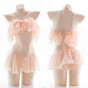 Image 1 - Black White Pink Underwear Pajama Set for Women Chiffon Lotus Leaf Off Shoulder Sexy Bra Panty Kawaii School Girl Lingerie Sets