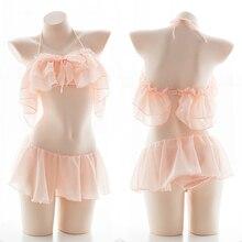 Schwarz Weiß Rosa Unterwäsche Pyjama Set für Frauen Chiffon Lotus Blatt Off Schulter Sexy Bh Panty Kawaii Schule Mädchen Dessous sets