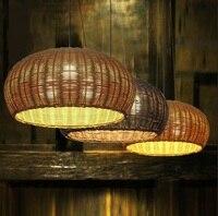 D36/46 см бамбука, ротанга фонарь подвесные светильники Простой японский ресторан гостиная исследование кафе освещения Подвесные светильник