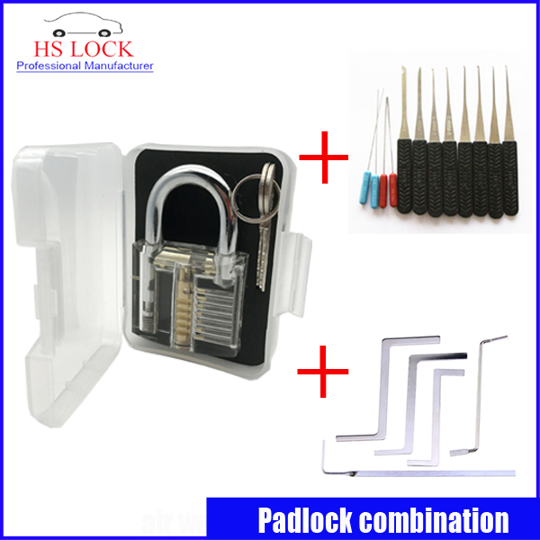 Clear padlock practice lock set with 5Pcs Used Locksmith Tools Replacement Turning Tool Tension Tools broken key extractor hakkadeal broken key removal practice padlock set