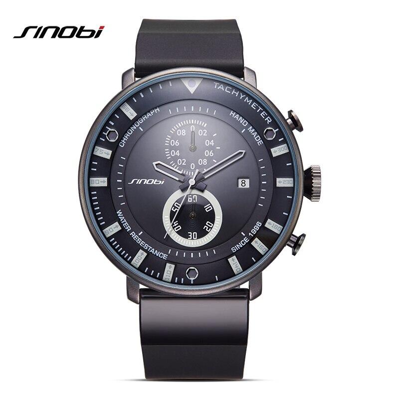 SINOBI Mens Watches Chronograph Top Brand 2017 Luxury Ultra Thin Big Black Clock Waterproof Rubber Sports Man Quartz Wristwatch luxury mens womens rubber sports led