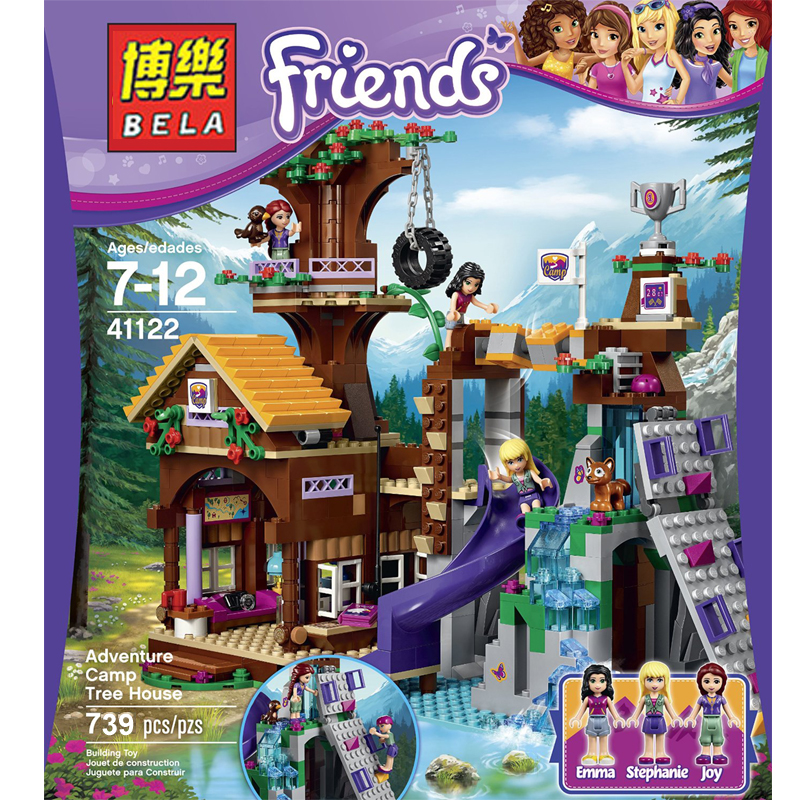BELA 10497/L41122 Friends Adventure Camp Tree House Building blocks educational toys Children's gift 739PCS with l jean camp trust