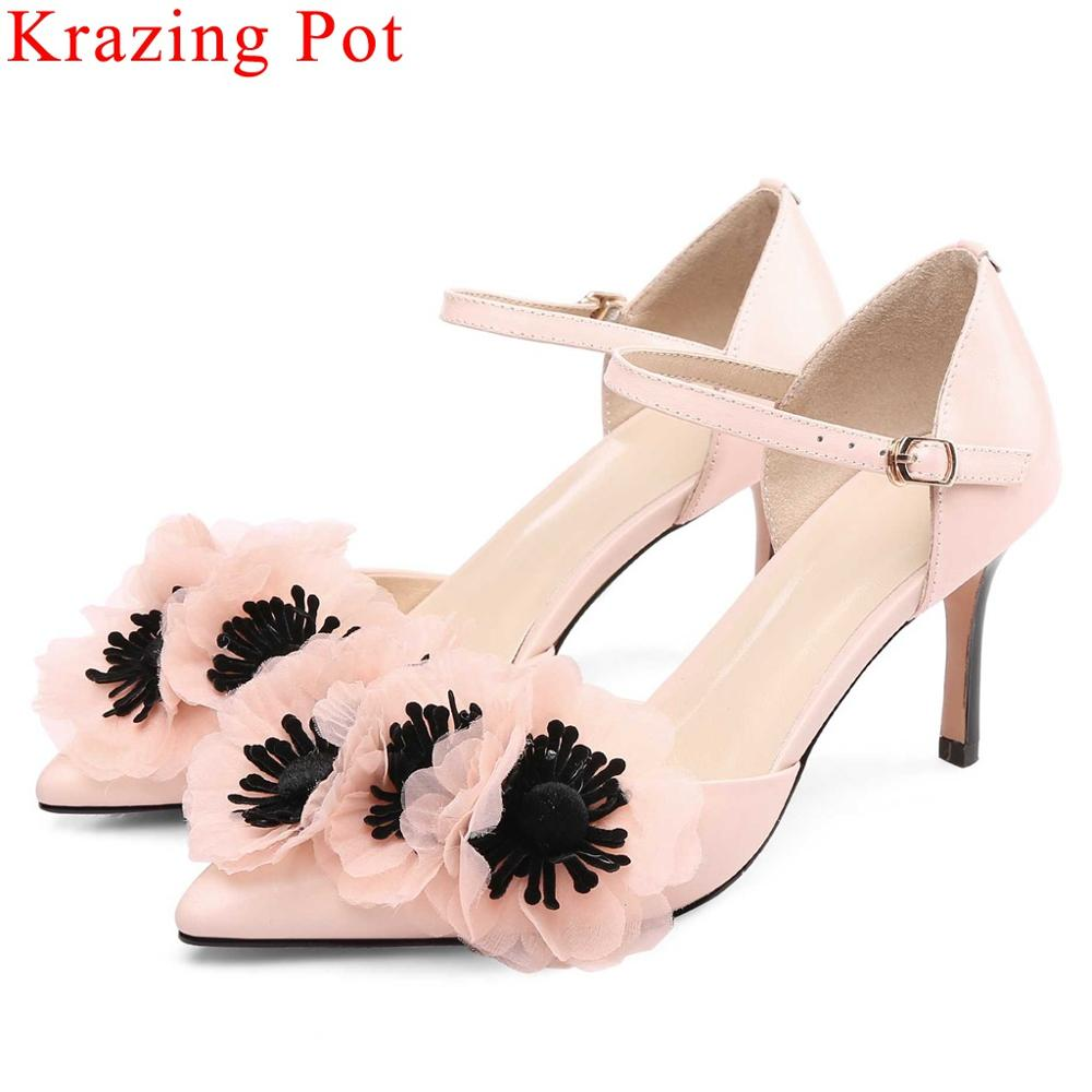Krazing Pot natural leather flowers decoration stiletto high heels European designer pointed toe buckle strap women shoes L49Krazing Pot natural leather flowers decoration stiletto high heels European designer pointed toe buckle strap women shoes L49