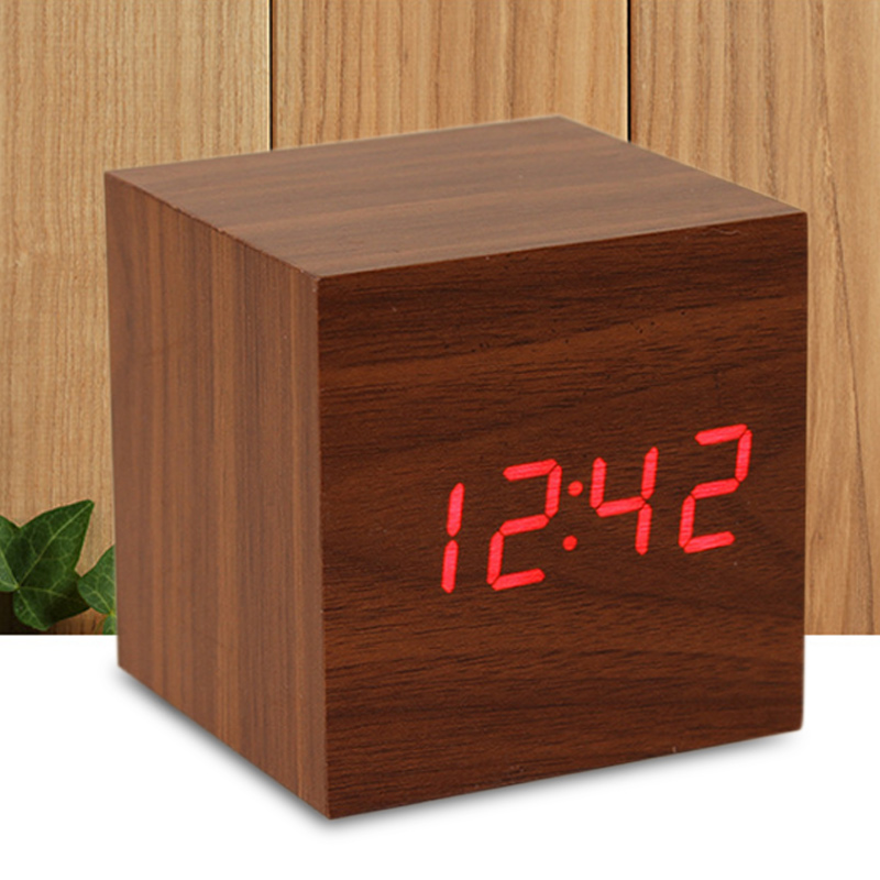 Cube LED Wood Alarm Clock Sound Control Square Desktop Table Digital Thermometer Clock E2S