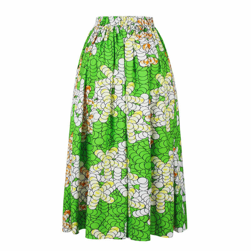 6d0fef84c0 ... 2019 Maxi Skirt Women Jupe Longue High Waist Vintage Long Skirt Elastic  African Peacock Print Slim