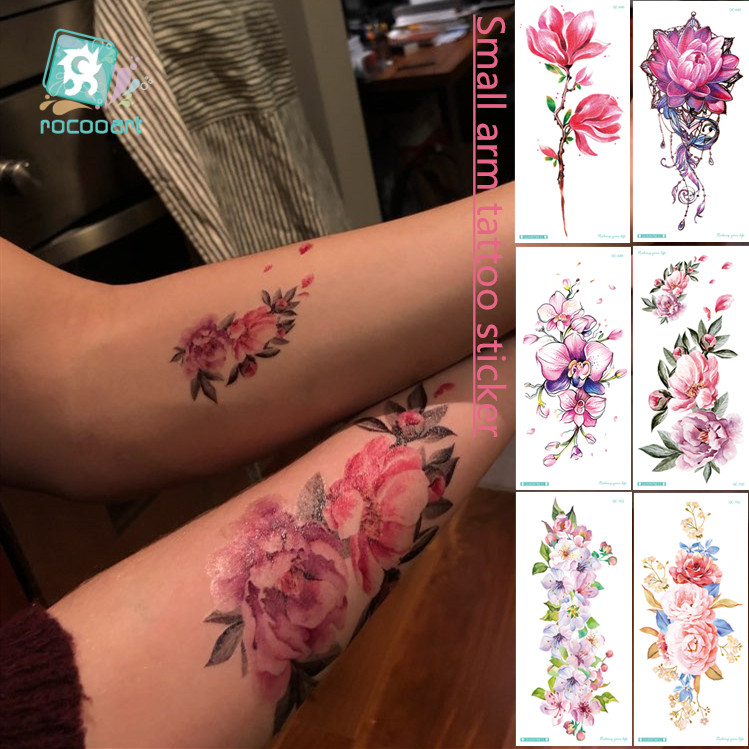 24 Styles Sexy Women Flowers Tempoary Tattoo Sticker Waterproof  Rose Peony Lotus Peach Tattoo Body Art Fake Tatoos