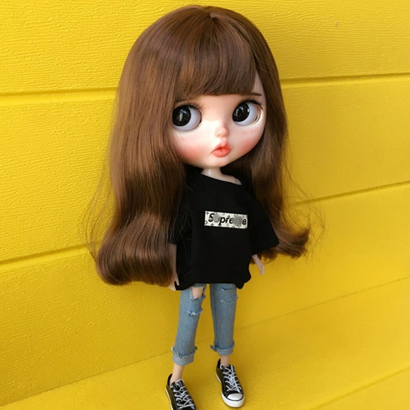 """1m DIY Orange Brown hair Wig For OB AZONE 12/"""" Action Figure Doll No.4"""