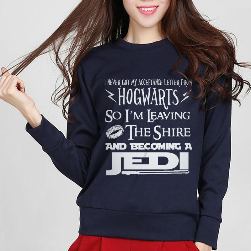 Women Harajuku Sweatshirt Hogwarts Lord Of The Rings JEDI Star Wars The Hobbit Femme Letter Print Fashion Hispter Hoodies S-xxl