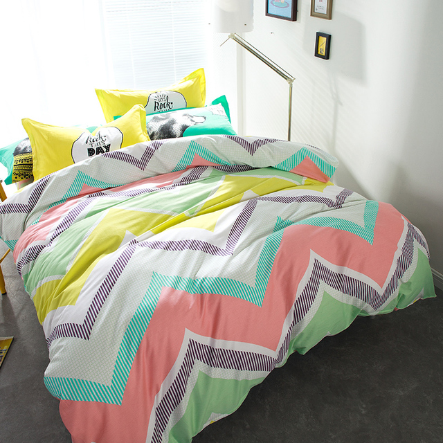Rainbow Colored Wavy Striped Bedding Sets Queen Size Cheap Pure Cotton Duvet  Cover Bed Sheets Bedroom