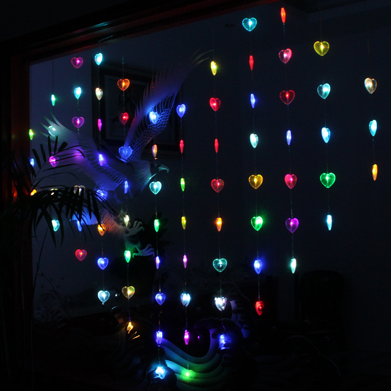 Wholesale of holiday lights Christmas LED garden decoration curtain ice flash lamp heart