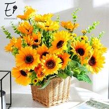 Erxiaobao High Quality Fake Sunflower Artificial Flowers Yellow Silk Turnsole for Home Wedding Decor