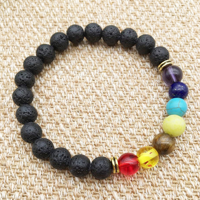 Black Lava Rock 8mm Beads 7 Chakra Healing Balance Bracelet for Men Women Reiki Prayer Stone Yoga Chakra Bracelet Drop Shipping