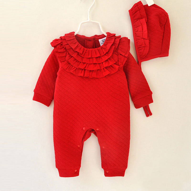 Baby Girl Sweet Lace Romper Hat Newborn Overalls Outfits Ropas Outerwear Infant Warm Thermal Cotton Jumpsuit Princess Clothing sale clearance splice costumes lace petti romper dress 1st birthday outfits bebe jumpsuit newborn baby girl clothes