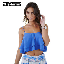 JYSS New Summer Fashion sun tops women 2017 Chiffon Sleeveless suspender Layered blue tank tops women