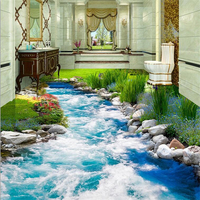Beibehang Custom 3D Floor Stickers Grass Grass Water 3D Floor Tiles Three Dimensional Painting Wall Papers
