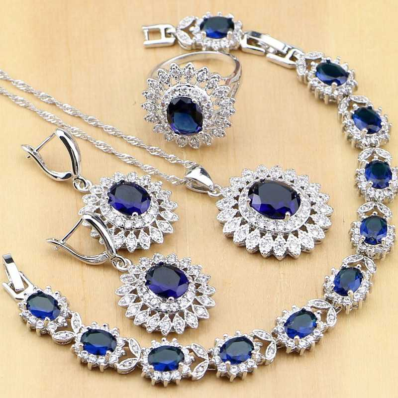 Natural Oval Blue Zircon White CZ 925 Silver Jewelry Sets For Women Party Earrings/Pendant/Necklace/Rings/Bracelet