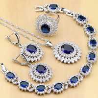 Naturalny owal niebieskie z cyrkonią białe CZ 925 srebrne zestawy biżuterii dla kobiet Party kolczyki/wisiorek/naszyjnik/pierścionki/bransoletka