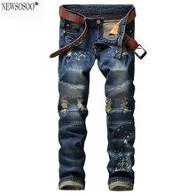 Newsosoo бренд мужской отверстия ripped байкерских джинсы для мотоцикла Повседневная окрашенные тонкий тощие прямые синий стрейч джинсовые брюки MJ55