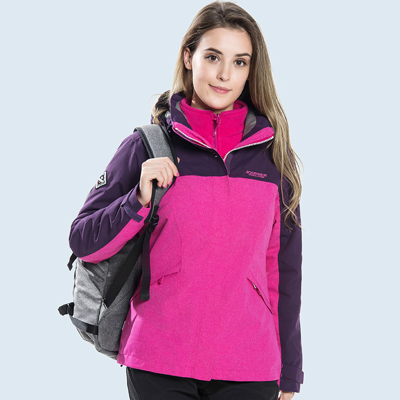 Outdoor sports waterproof windproof and warm women three in one or two piece suit winter climbing jacket