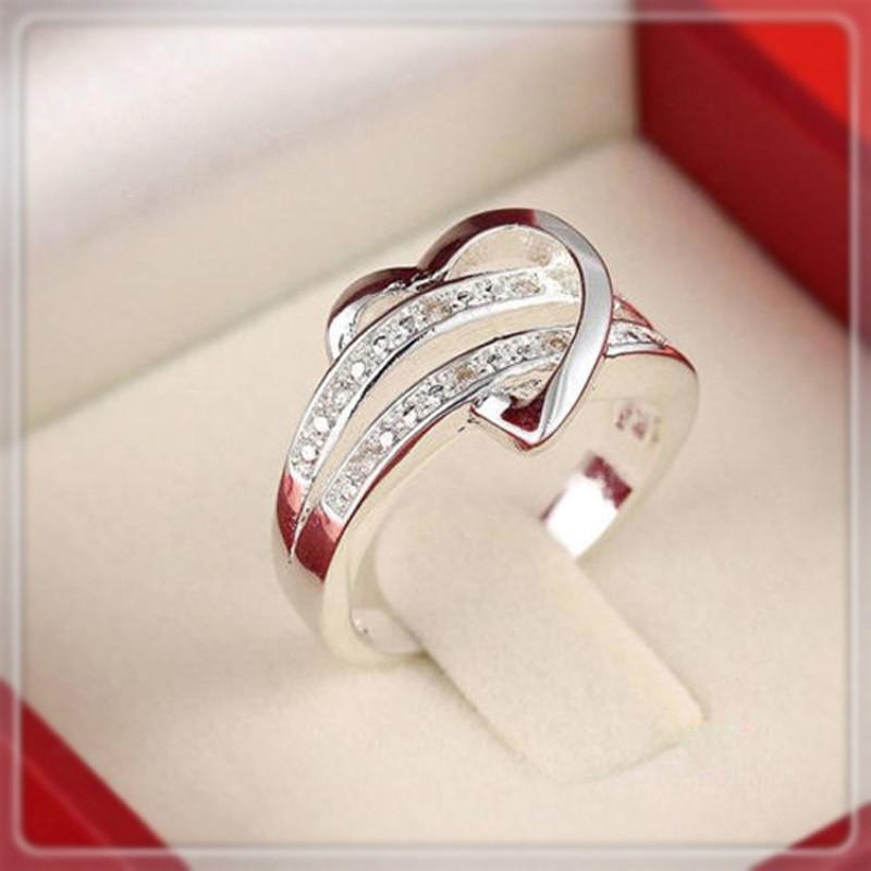 <font><b>1</b></font> <font><b>X</b></font> Newest Fashion Women Jewelry Silver Plated Bling Heart Love Women Wedding Ring Size 5 6 7 <font><b>8</b></font> 9 10 <font><b>11</b></font> Christmas Gift A1986a