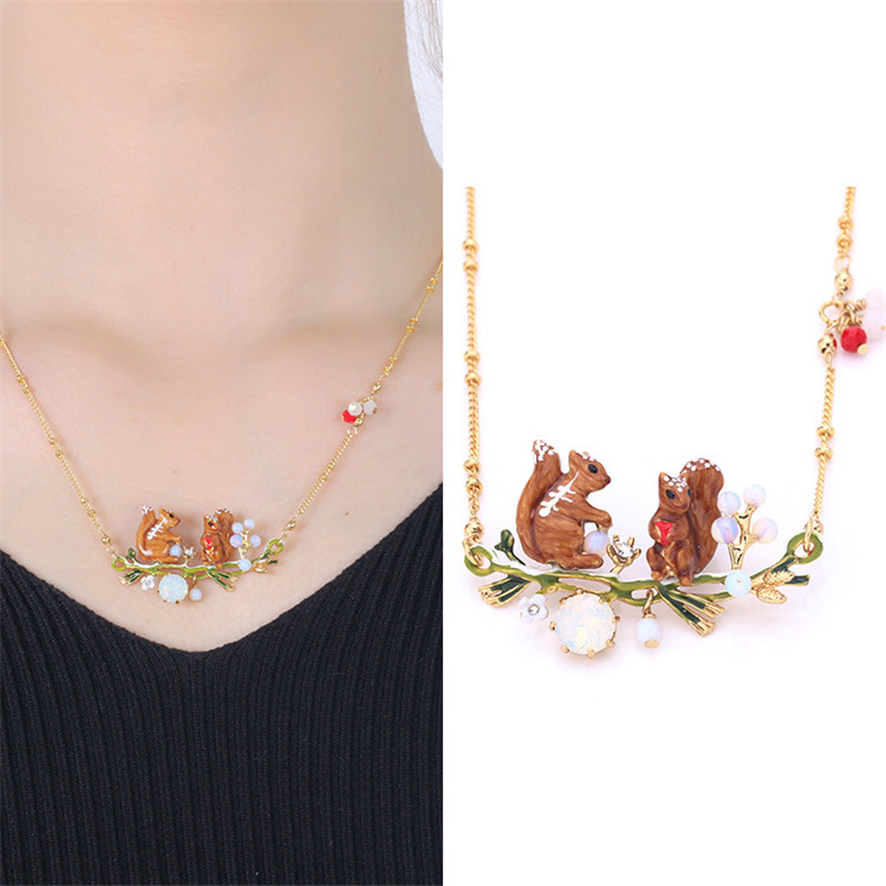 Warmhome Classic Jewelry Enamel Glaze Cute Squirrel Series Squirrel Gem For Women Necklace цена