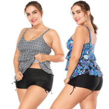 Sexy Floral Printed Vintage Tankini with Shorts Plus Size Swimsuit Women Swimwear Push Up Two Piece Swimming Bathing Suit Bikini