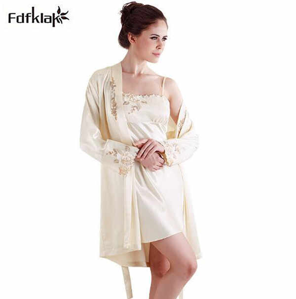 9f9121c411 High quality spring autumn silk robe set sexy silk silk dressing gown for  women large size