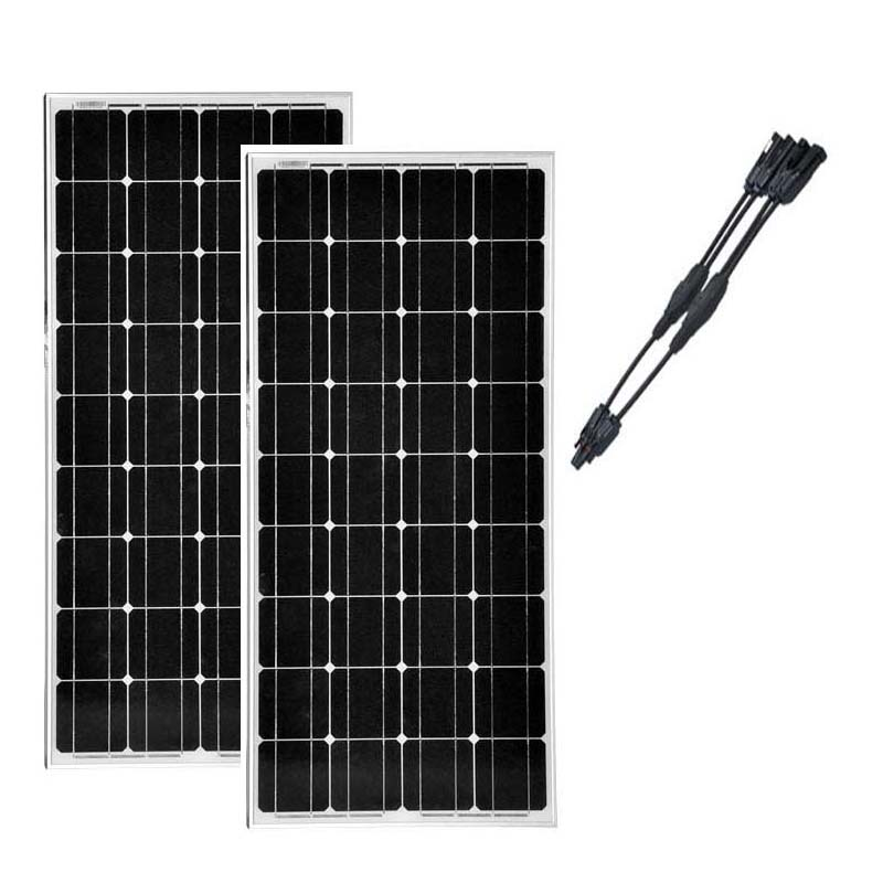 2 pcs panneau solaire 100 w 12v solar kit 2 in 1 connector panel solar 200w solar charge battery. Black Bedroom Furniture Sets. Home Design Ideas