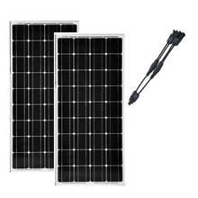 2 Pcs Panneau Solaire 100 w 12v Solar Kit in 1 Connector Panel 200W Charge Battery Camping Car Caravane Motorhome