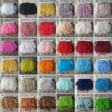Крашеная кожа страусиные перья бахрома отделка 1 ярд в партии натуральный страусиные перья Лента отделка для юбки костюм платье