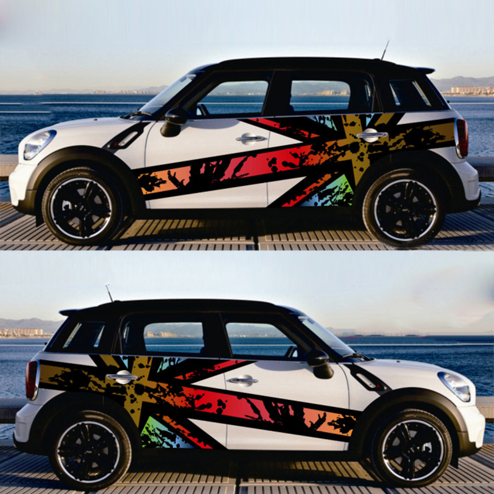 1Pair Union Jack Car Side Door Skirt Decal Sticker Decor for MINI Cooper F54 F55 F56 F60 R55 R56 R60 R61 Car Styling Accessories aliauto car styling car side door sticker and decals accessories for mini cooper countryman r50 r52 r53 r58 r56