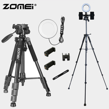 Zomei Q111 Camera Tripod Portable Travel Makeup Light Stand + 6 inch 16cm Fill Ring Set for Room Anchor Phone Live Video