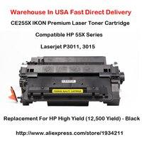 Cartucho de tóner láser de la serie CE255X 55X Compatible con HP LaserJet P3011  3015 de alto rendimiento (12.500 de rendimiento) -Negro