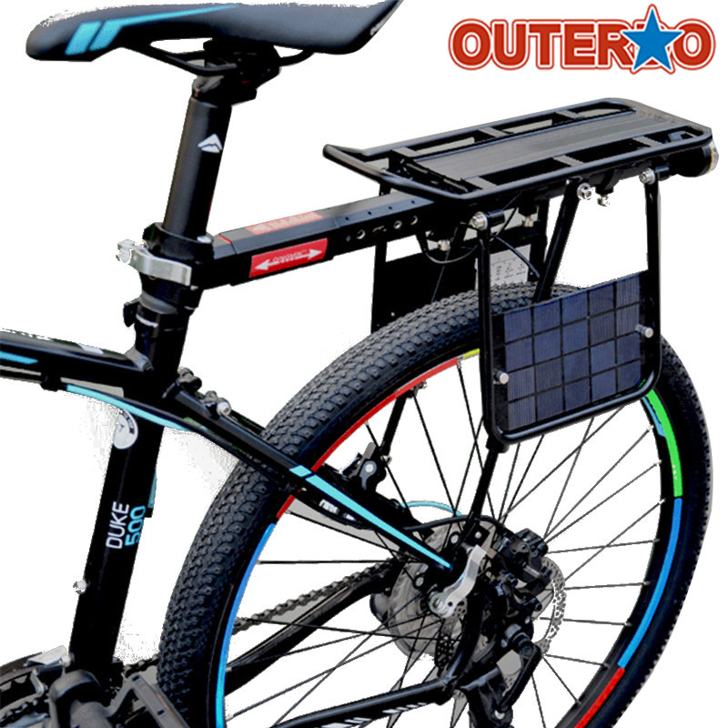 OUTERDO New Aluminum Alloy Bike Bicycle Cargo Racks Solar Charge Built-in USB Interface Cycling Rear Seat Luggage Holder Set wheel up bicycle rear seat trunk bag full waterproof big capacity 27l mtb road bike rear bag tail seat panniers cycling touring