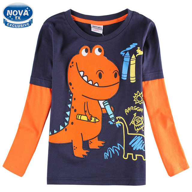Children clothes boys t shirts nova casual long sleeve in spring/autumn kids costumes with Dinosaurs boy bobo choses tops A6501