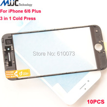 10PCS For iPhone 6/6 plus 3 in 1 Original Front Screen Outer Glass with Frame OCA Film Assembly Replacement Black White