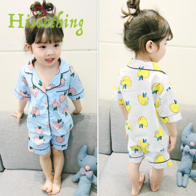 Baby Girl Pajamas Set Girl Korean Style Casual Short Sleeve Clothing  Costume Suit Children Fruit Print Sleepwear Pajamas Sets 33ef9c0b3