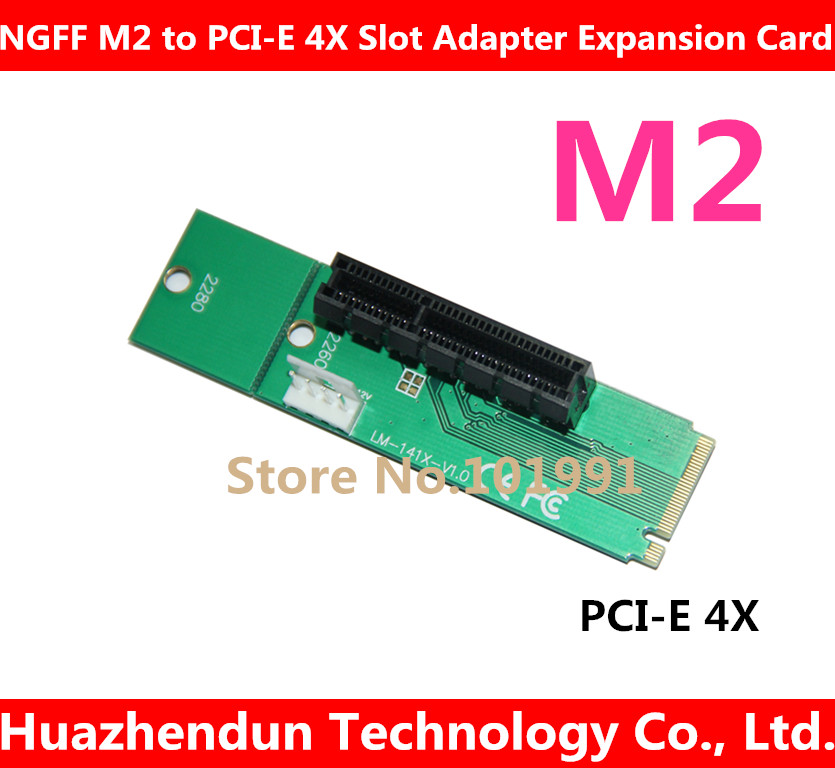 Toppsäljande 5PCS / LOT NGFF M2 till PCI-E 4X Slot Adapter Card M-tangent M.2-port SSD-port till PCI Express-expansionskort