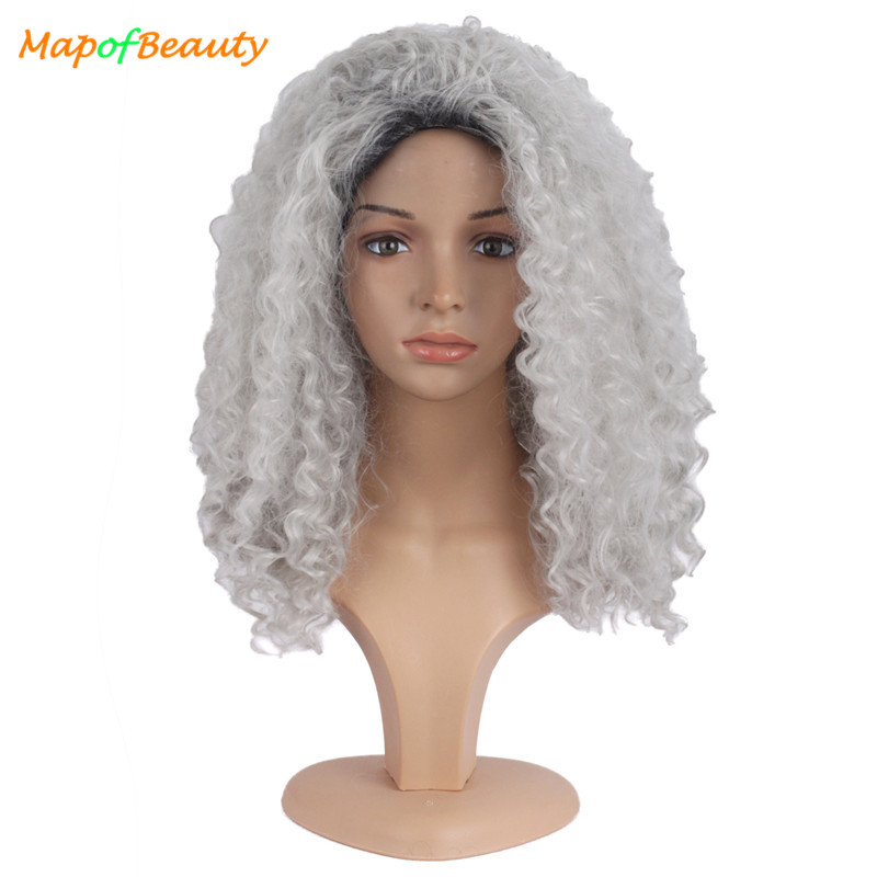 Dashing Mapofbeauty 20 Long Afro Kinky Curly Wigs For Women Black Grey Mix Heat Resistant Synthetic Hair African American Hairstyle Strengthening Waist And Sinews Synthetic Wigs