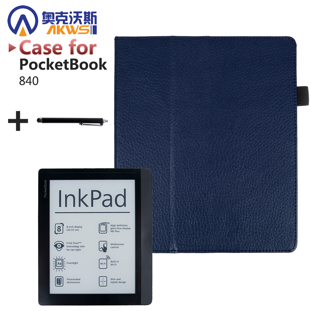 Folio stand PU leather cover case high quality protective cover case for pocketbook 840 Inkpad pocketbook 840 2nd Inkpad ereader folio pu leather cover case classic stand protective cover case for pocketbook 840 inkpad 2 ereader
