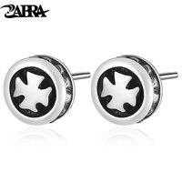 Vintage Cross Korean Type Earring For Men And Women Rock Retro Thai Silver Fine Jewelry 925