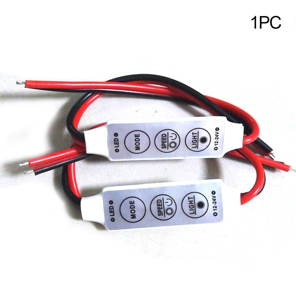 Tubwair 12/ 24V Mini LED Strip Controller Adjustable 5 Speed And 8 Dim In-Line 3 LED Light Strip Dimmer Controller
