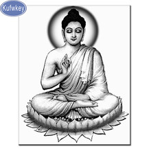 Hitam Putih Agama Buddha Ikon 5D DIY Diamond Lukisan Penuh Bor Berlian Resin Mosaik Bordir Berlian Imitasi Diamond Manik-manik(China)