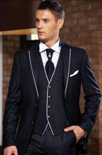 2016 Custom Made Navy Blue Men Slim Fits Suits Tuxedos Grooms Suits Wedding Suits Formal Party Suits Blazers+Pants+Vest